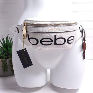 Bebe White Crossbody Hip Fanny Pack Bag